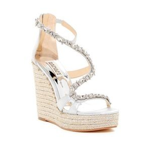 Badgley Mischka Silver Embellished Wedge